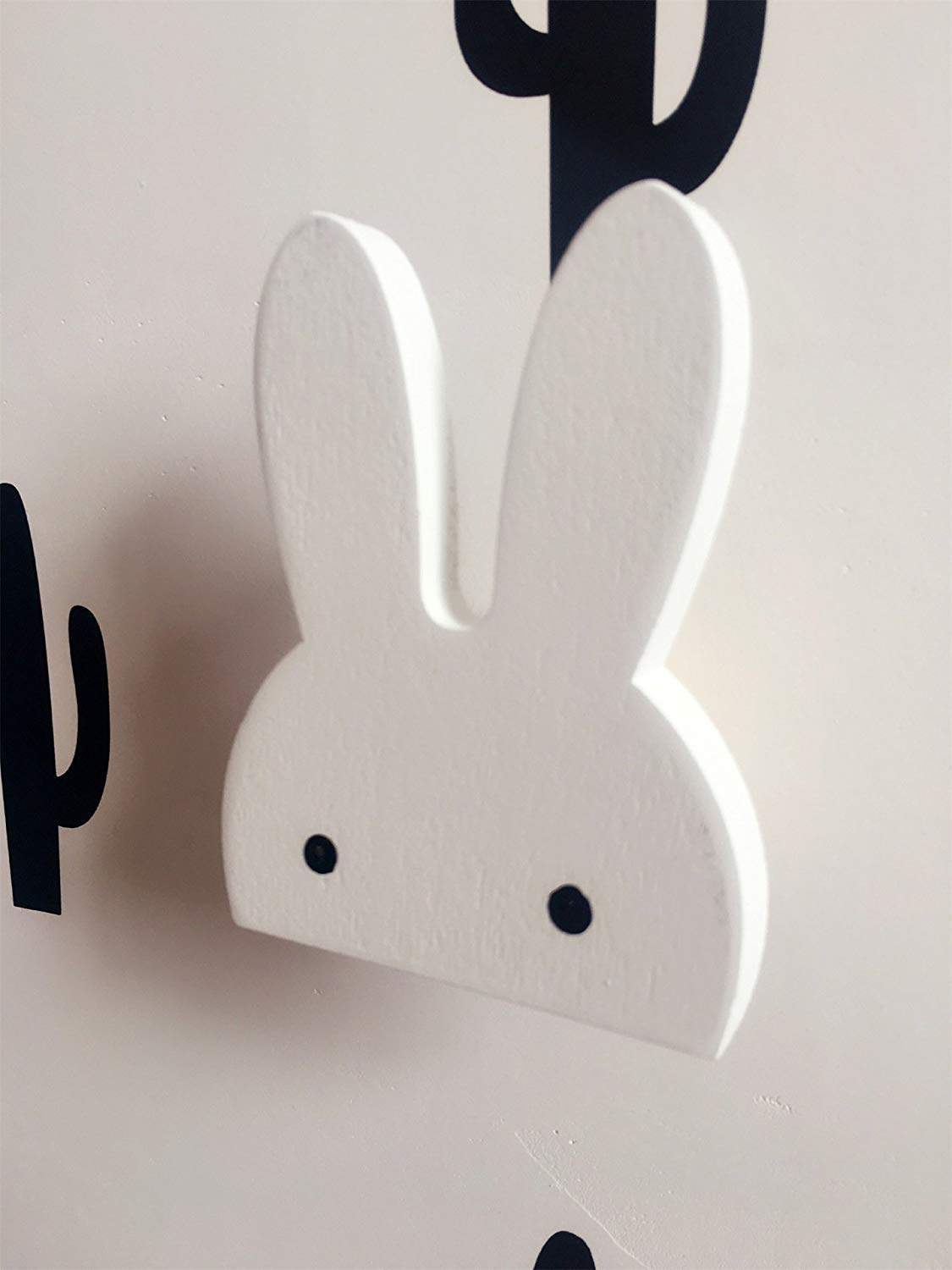 Decorate Your Home The Nordic Style Black and White Rabbit Room Children's wear Shop Manual Shop Wall Decoration Wooden Creative, Pink Rabbit Hook (Color : The Pink Rabbit Hook)