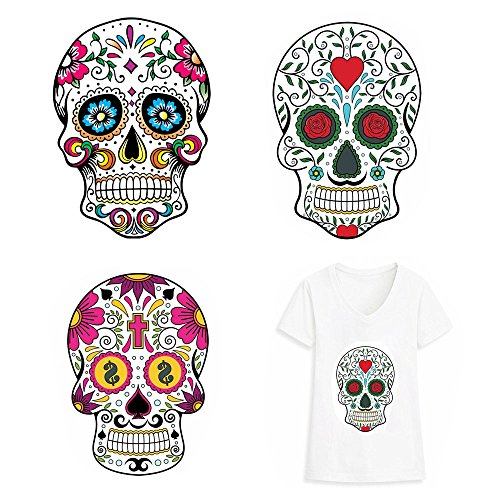 Clothes, Large Skull Printing Heat Transfer Sticker Patch for Household Irons DIY Decor Hotfix Decal Motif Appliqued for T-Shirt Jeans Coats Totes Hoodie ()