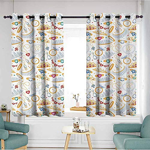 Beihai1Sun Grommet Curtains,Pearls,Pattern with Accessories Diamond Rings and Earring Figures Image Digital Print,White Yellow,Blackout Draperies for Bedroom,W55x63L