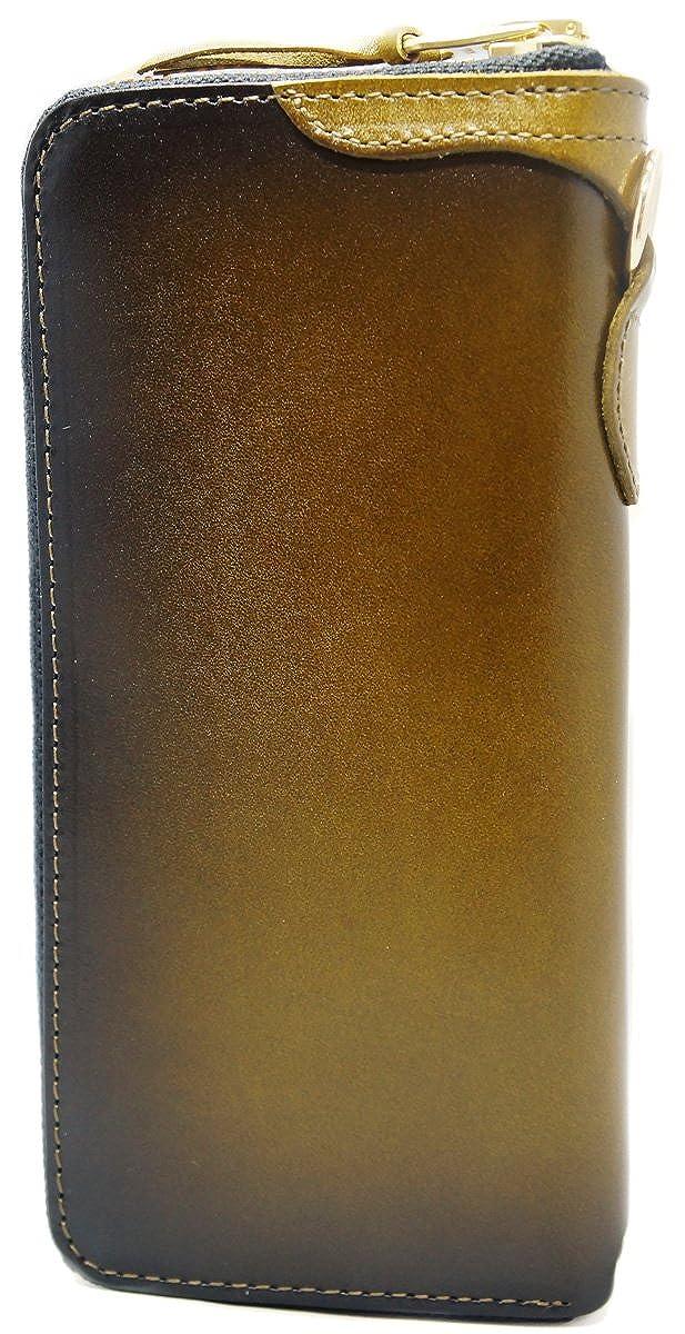 【高級ヌメ革を使用】本革 長財布 YKK ラウンドファスナー 大容量 ボックスき付き 父の日 ギフト プレゼント 10156 B07DMG8HVG  オリーブ