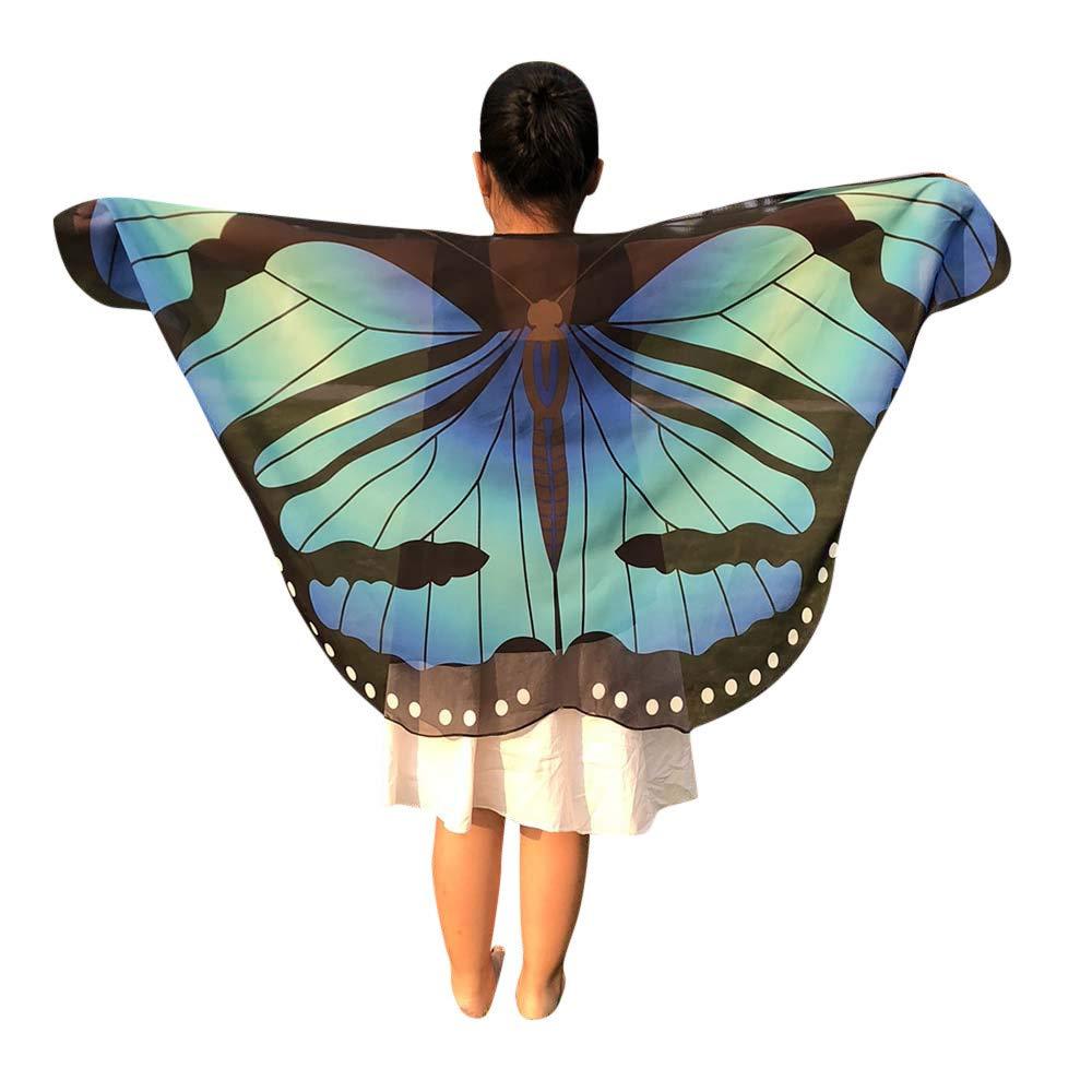 Women Soft Halloween Party Butterfly Wings Shawl Festival Wear Dress Up Cape(BE,one size)