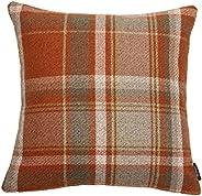 McAlister Textiles Heritage Pillow Case Terracotta Orange Tartan Plaid Wool Holiday Decor Throw Scatter Cushio