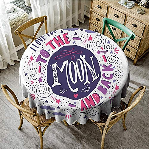 (DONEECKL Wrinkle Resistant Tablecloth I Love You Sweet Colorful Love with Fun Forms Comet Storm Clouds Valentines Theme Indoor Outdoor Camping Picnic D47 Pink Violet Purple)