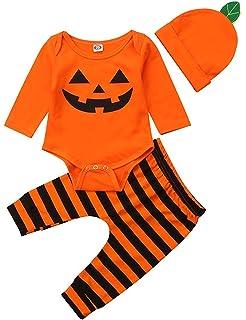 Kosusanill Newborn Baby Girl Halloween Outfit My First Halloween Romper Pumpkin Bodysuit Tutu Skirt Headband Clothes Set