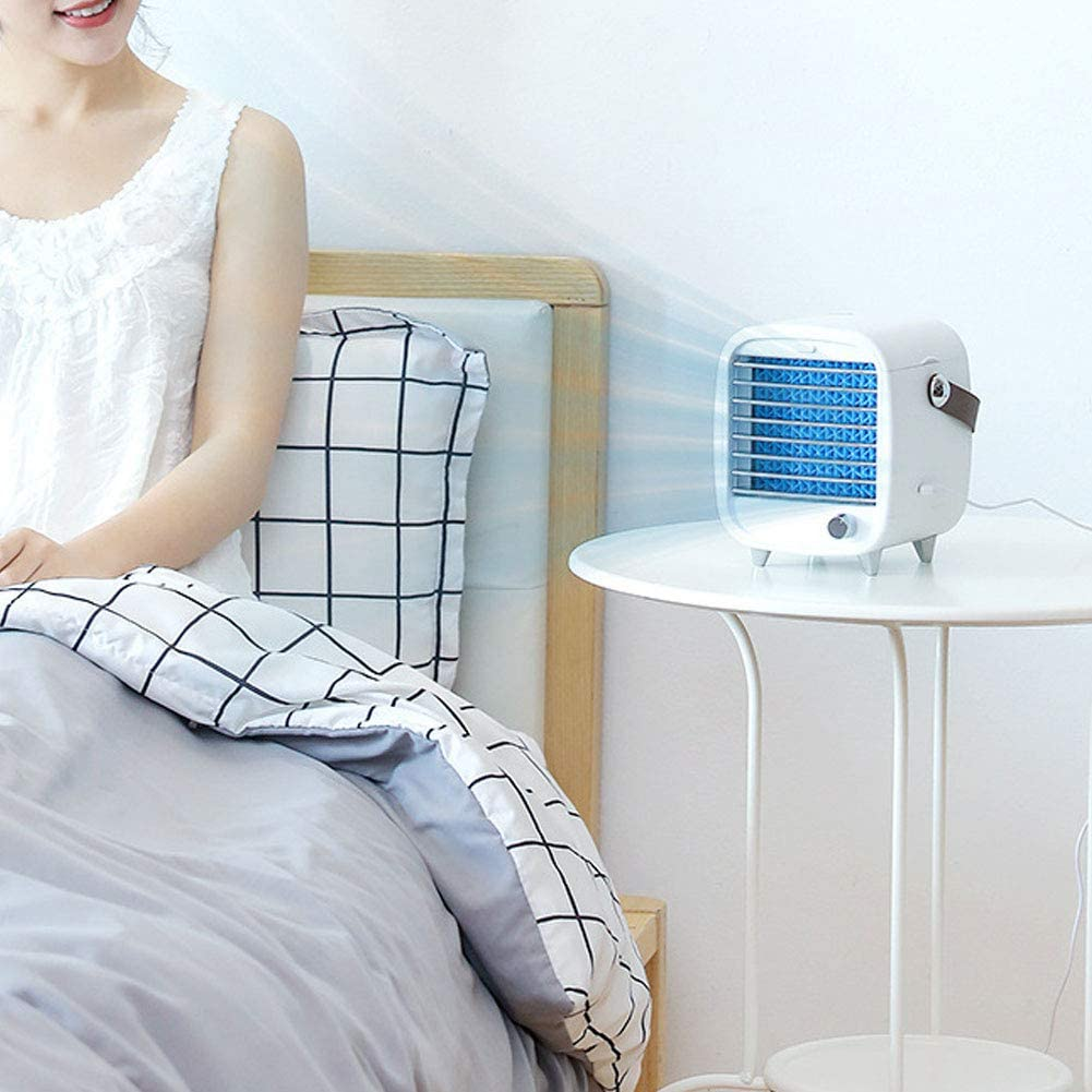 Portable Mini Cooling Fan Humidifier 3 Layer Cooling Desktop Cooling Fan with Wetted Pad Ice Box for Home Office Dorm 200ml GOTOTOP Personal Air Cooler