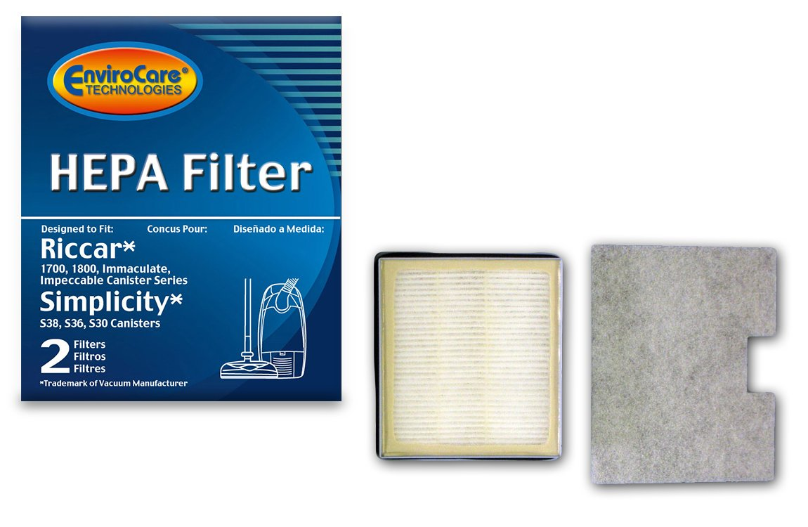 Envirocare-Odor Neutralizing Riccar 1700, 1800 Hepa And Charcoal Filter Set Also Will Fit Simplicity Models S36, S36L, S38, S38L 987