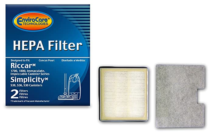 EnviroCare Replacement HEPA Vacuum Filter for Riccar 1700 1800 RF17 and Simplicity Models S36, S38, S30