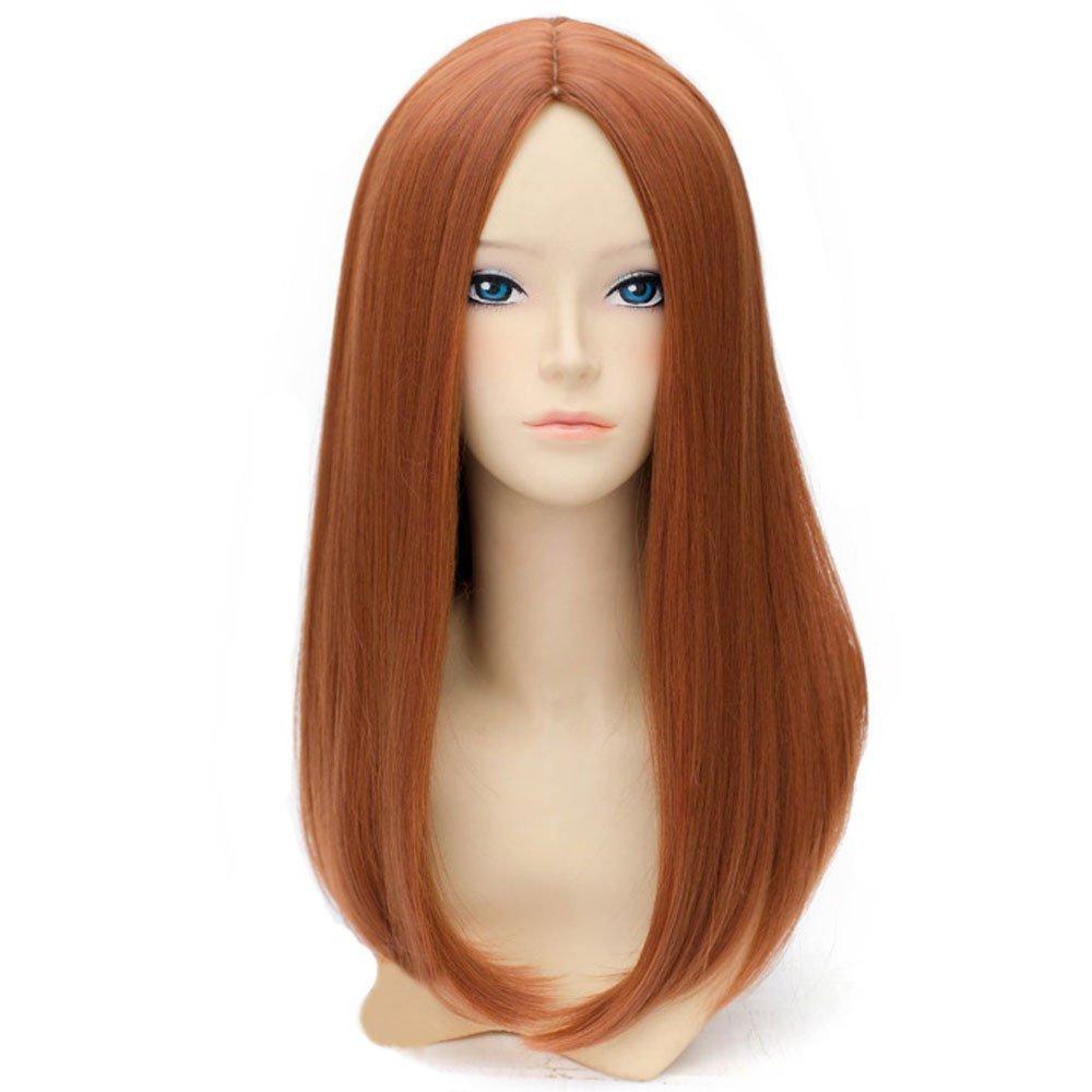 BERON 20'' Long Straight Hair Cosplay Costume Party Wig with Wig Cap (Dark Orange) by BERON