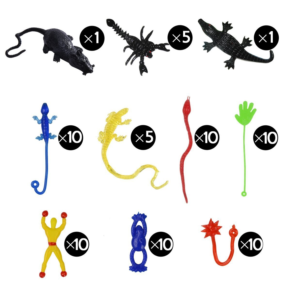 72 Pack Vinyl Stretchy Sticky Toys, Includes Sticky Hands, Wall Climber Men, Hammers, Snakes, Flying Frogs, Lizards, Scorpions, Black Mouse, Big Alligator, Birthday Party Favors Gifts Toys for Kids