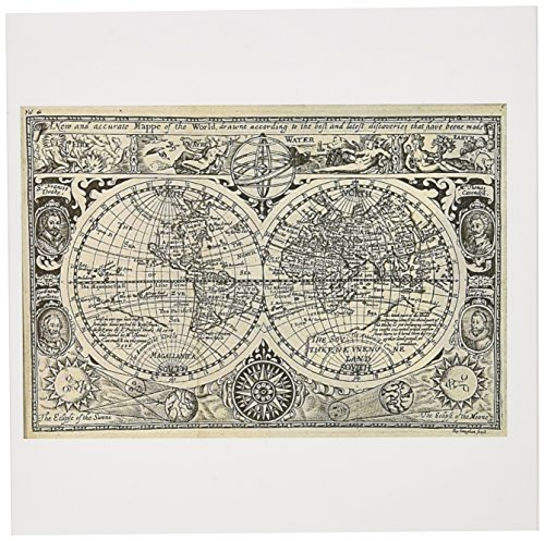3dRose Greeting Cards, 6 x 6 Inches, Pack of 12, World Map 1628 (gc_7426_2) (Map Note Card)