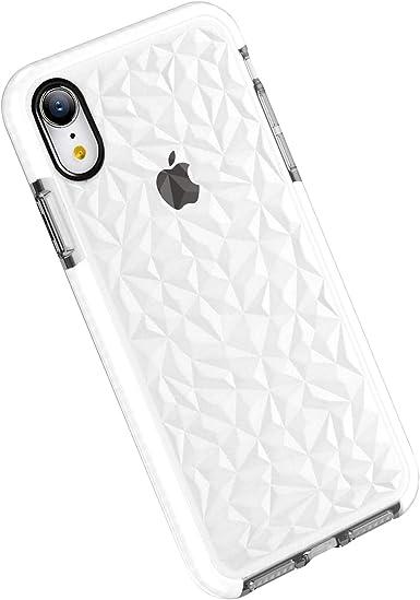Funda iPhone XR, Carcasa Silicona Transparente Protector TPU Airbag Anti-Choque Ultra-Delgado Anti-arañazos Case 3D Modelo Geométrico de Diamante Funda para Teléfono (iPhone XR, Blanco): Amazon.es: Ropa y accesorios