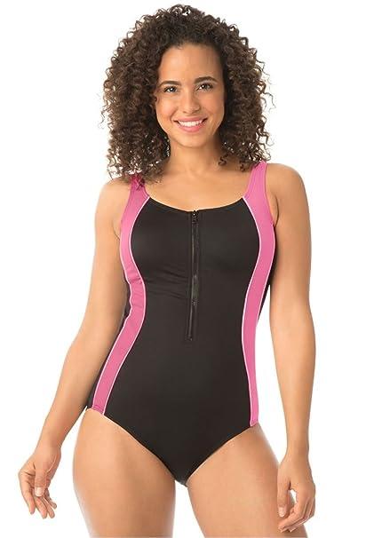0295e3c3d0ae1 Women s Plus Size Zip-Front Maillot Swimsuit By Aquabelle Black Coral