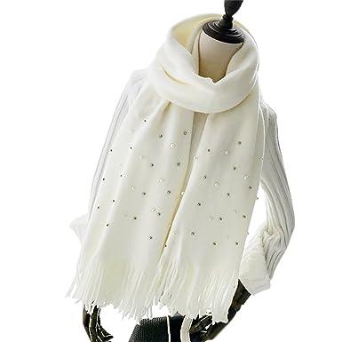8c41306341f7 Ya Jin à tricoter laine perle décor châles Wraps grand Long hiver écharpe  femmes fille