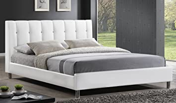 baxton studio vino modern bed with upholstered headboard queen white - Queen White Bed Frame