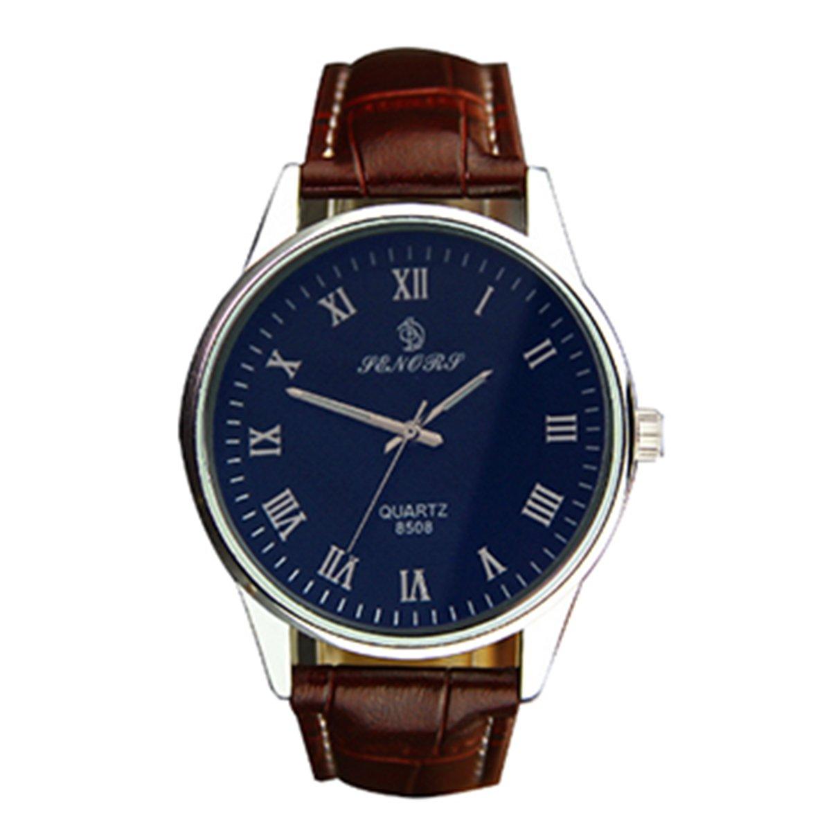 SENORS Classic Men's Wrist Quartz Watch Dress Fashion Roman Watch Business Simple Clock Men Wrist Watch Waterproof PU Brown Leather Watch for Men