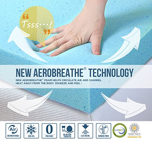 Vidafino 8 Inch AeroBreathe Gel Infused Reactive Memory Foam Mattress – No-Risk 45 Day Trial 10-Year Warranty – CertiPUR Oeko-tex Certified King