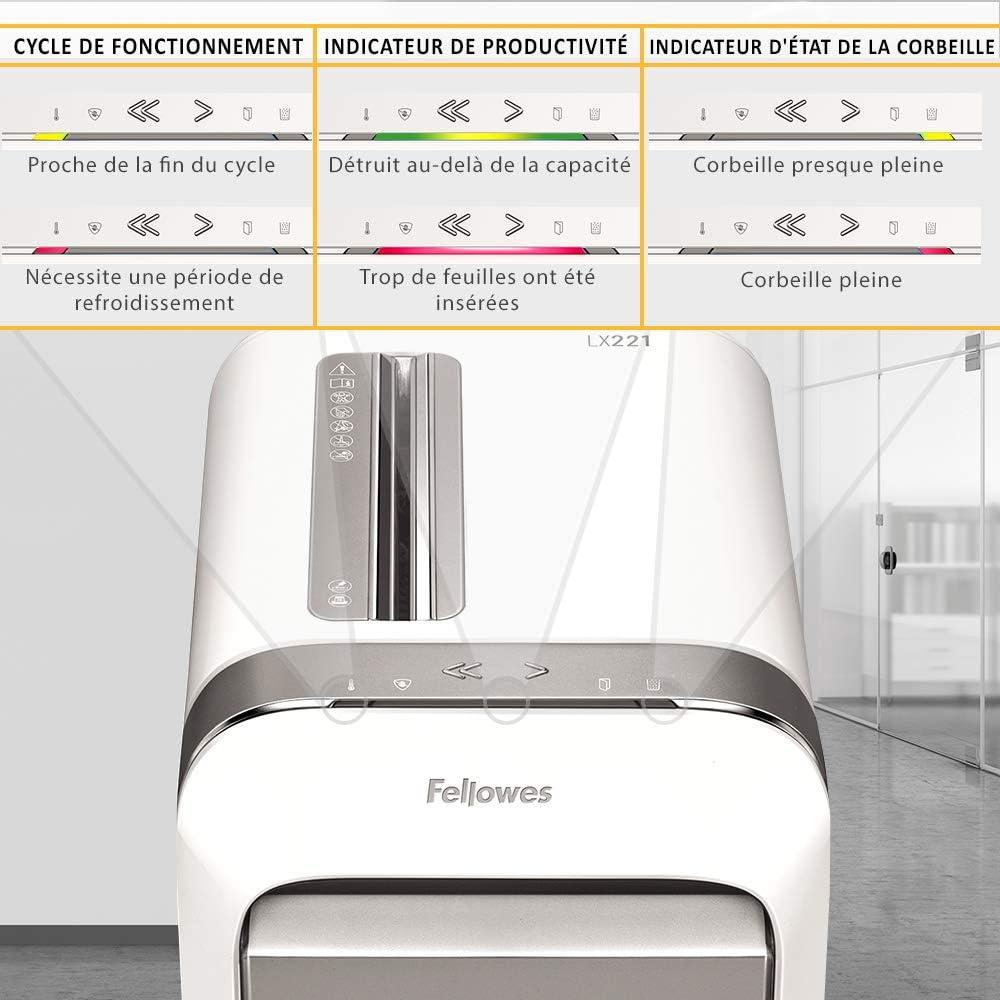 Fellowes Powershred LX221 5050501 Blanc destructeur de documents coupe micro 20 feuilles pour petites entreprises//bureaux /à domicile /équip/é de la technologie SafeSense et 100/% anti-bourrage