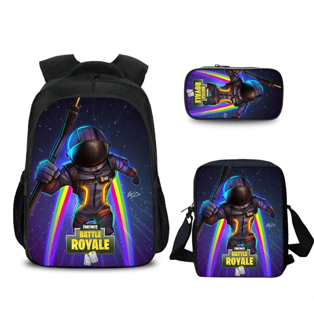 Aristory Fortnite 3D Printing Set School Backpack Daily Bag Pencil Case Satchel for Teen Boys and Girls (H14)