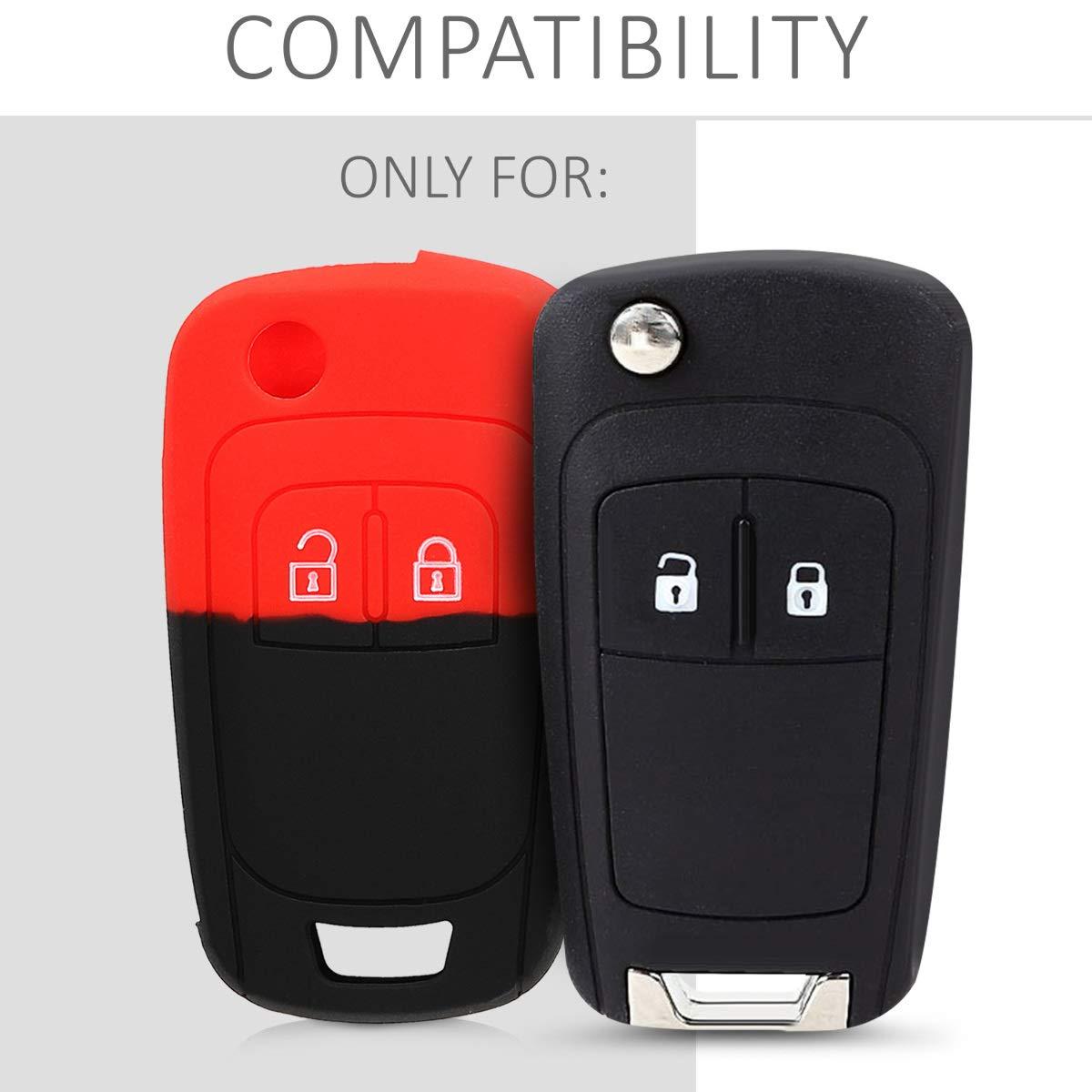 Coque pour cl/é Pliable de Voiture Opel Chevrolet 2-Bouton en Silicone Noir-Blanc-Blanc kwmobile Accessoire cl/é de Voiture pour Opel /Étui de Protection Souple
