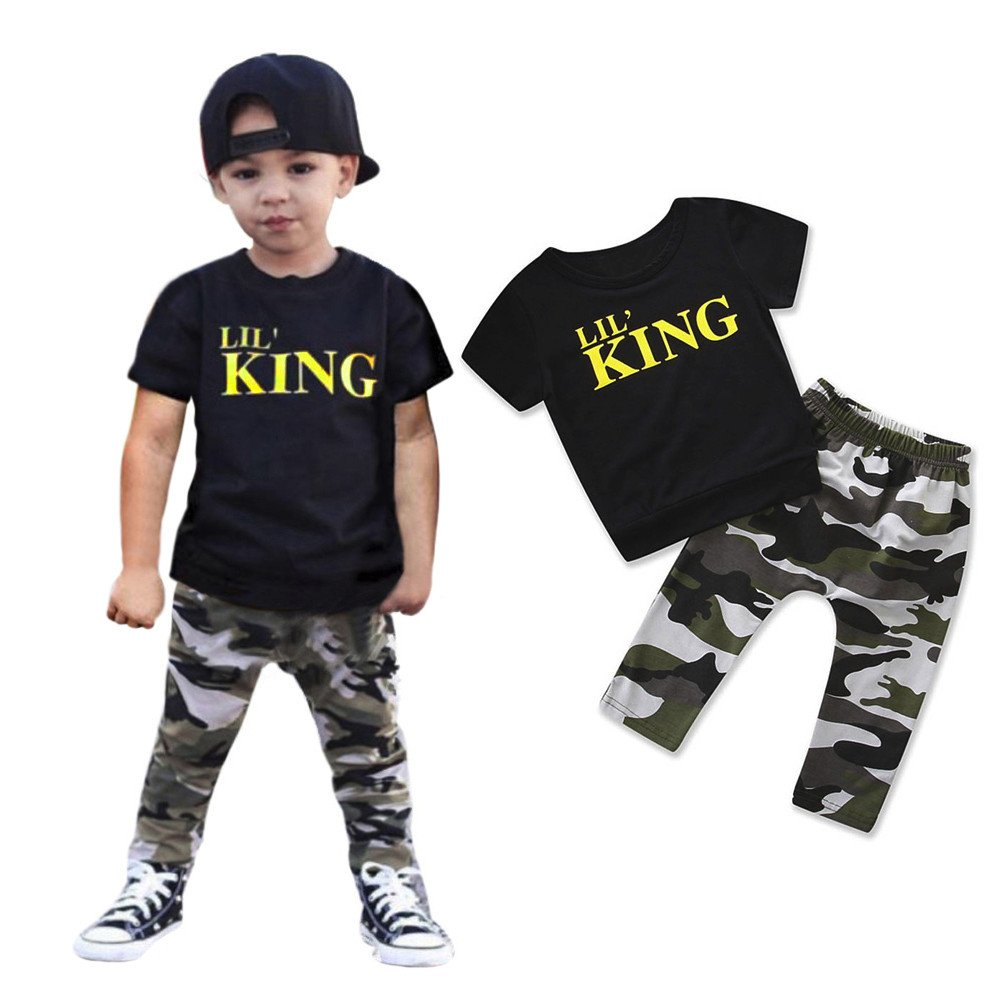 Newborn Baby Boys Girls Short Sleeves Leatter Lil King T-Shirt Camouflage Elastic Shorts Outfits 2PCS Set
