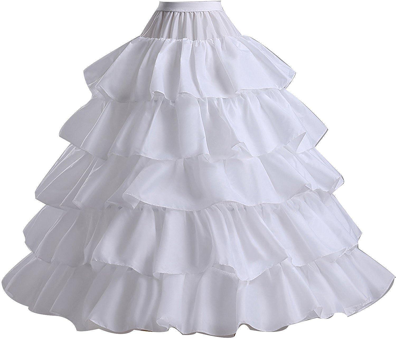 Dearta 4 Bone Full Hoop Bridal Crinoline Petticoat Skirt Half Slip Ruffles CQ10004-3
