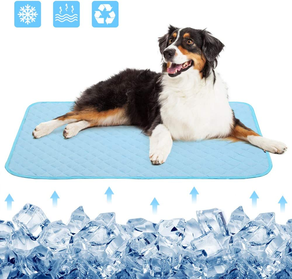Dog Cooling Bed Mat, Pets and Cats Ice Silk Pad Cooling Blanket Avoid Overheating, for Kennels,Crates,Beds,Couch,Car Seat,Help Your PetStay Cooler