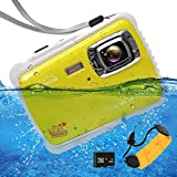 """Waterproof Digital Camera for Kids, ISHARE Kids Camera 12MP HD Underwater Action Camera Camcorder with 2.0"""" LCD, 8X Digital Zoom, Flash and Mic for Girls/Boys (Yellow with Float Strap and 8G Card) …"""