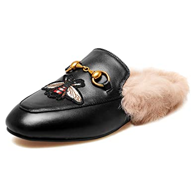 15003d226a4 Comfity Mules for Women,Womens Leather Slip On Mule Flats Embroidery Loafers  Backless Rabbit Hair