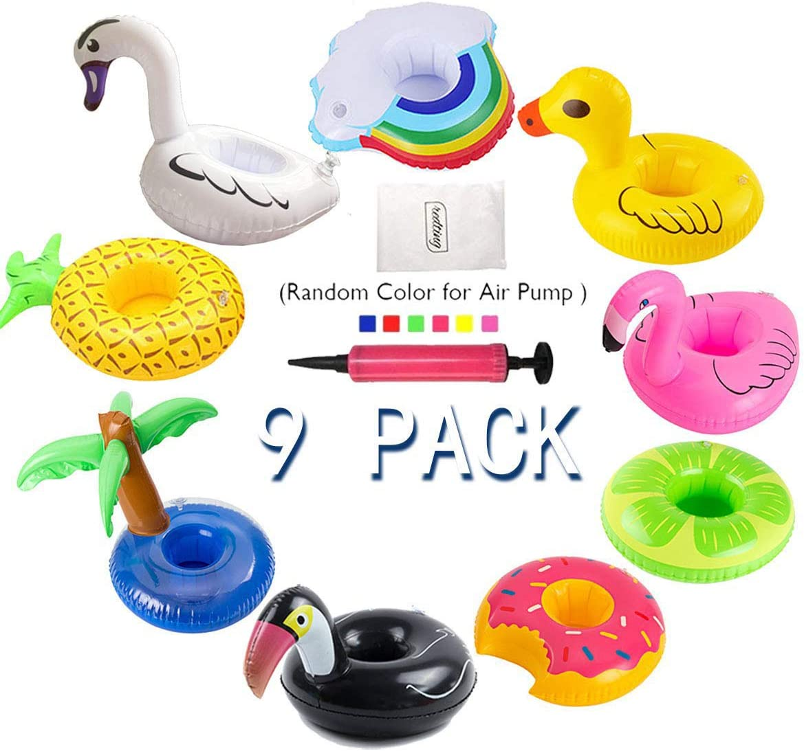 redting Inflatable Drink Holder 9 Pack Drink Pool Floats Cup Holder Floats Inflatable Floating Coasters for Pool Party