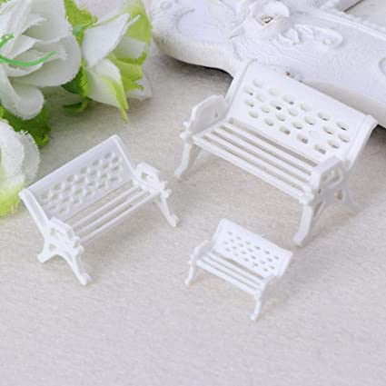 Brilliant Amazon Com Dollhouse 3 Pcs Park Seat Bench Miniature Uwap Interior Chair Design Uwaporg