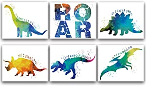 "Roaring Dinosaur Bedroom Cool Watercolor Art Prints Set of 6 (8""X10""), lovely Roar Name Word Wall Art Poster for Nursery, Boys, Son, Kids Room Home Decor, No Frame"