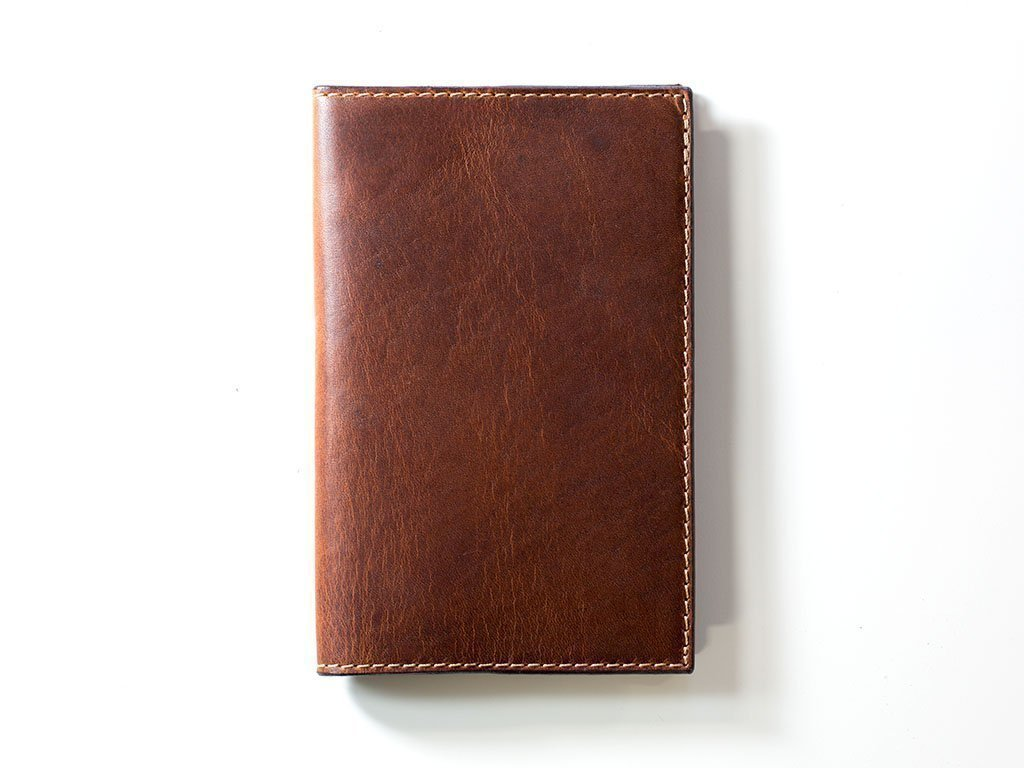 Personalized Leather Journal Cover for Moleskine Cahier Notebook with One Ruled Refill Included, Handmade in USA from Horween Leather of Chestnut Color, Monogrammed Vintage Notepad - Gift for Everyone