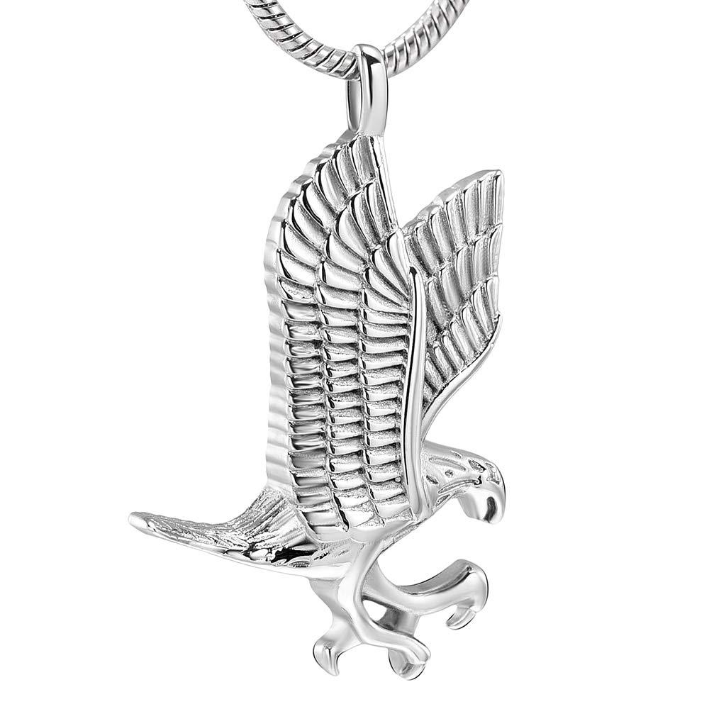 Davitu KSJ10077 Ferocious Eagle Design Cool Men Women Necklace Fashion Jewelry New Arriving Pet Cremation Jewelry Ashes Holder Keepsake Metal Color: Silver, Main Stone Color: 3Pcs Pendant only