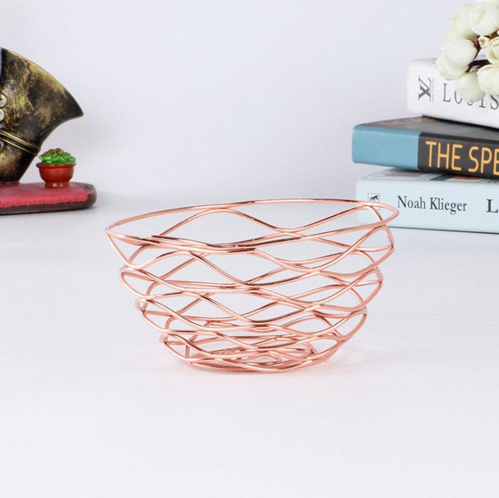 MoGist Geometric Metal Wire Fruit Basket Decorative Storage Display Basket Fruit Bowl Kitchen Countertop Metal Fruit Basket