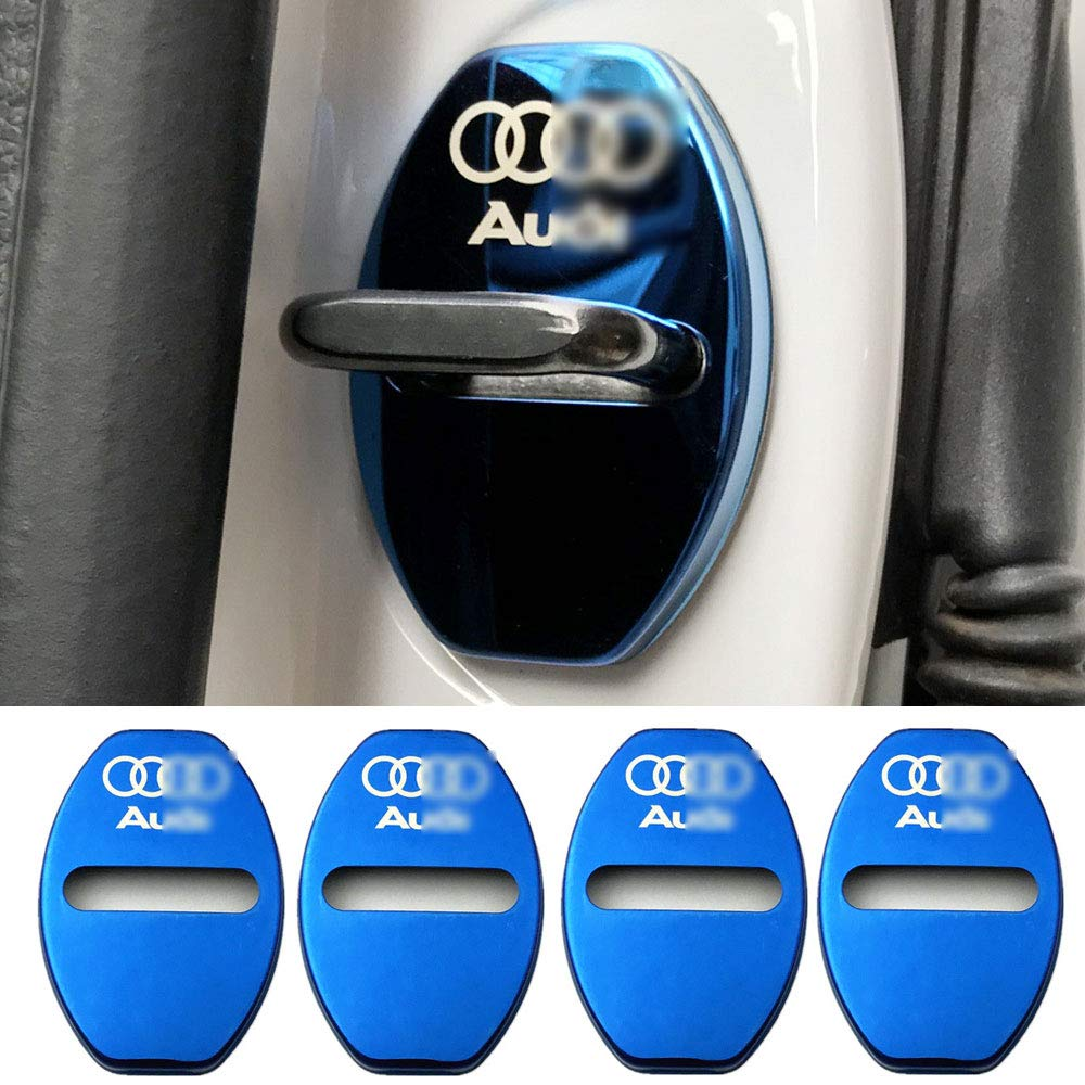 YYD 4PCS Audi Stainless Steel Door Lock Cover Suitable for Audi A3 A4L A6L Q3 Q5 door lock cover door lock stainless steel rust cover,Blue