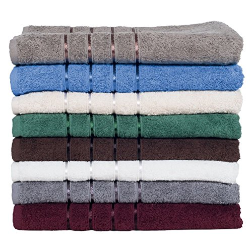 AVGDeals 100% Cotton Towels Plush 650 GSM Bath Towels 8 Piece Set (Grey)