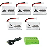 Noiposi 5pcs Upgrade 3.7v 700mAh 25c Lithium Batteries with X6 Charger for UDI U45 Syma X5c X5sc X5sw Rc Quadcopter Drone