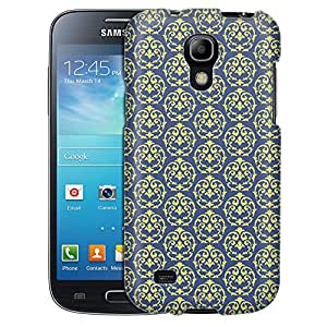 Samsung Galaxy S4 Mini Case, Slim Fit Snap On Cover by Trek Victorian Drawn Lime Green on Cyan Blue Case