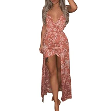 Combinaison Femme - Femmes Vacances Combishort à Fleurs Dames Été Combinaison  Short Robe Longue Maxi Ba a429572e983
