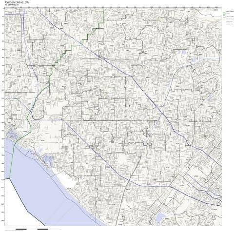 Amazon Com Working Maps Garden Grove Ca Zip Code Map Laminated Home Kitchen