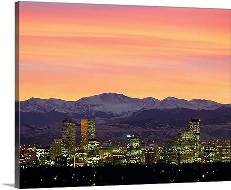 Skyline And Mountains At Dusk Denver Canvas Wall Art Print Denver Artwork Posters Prints