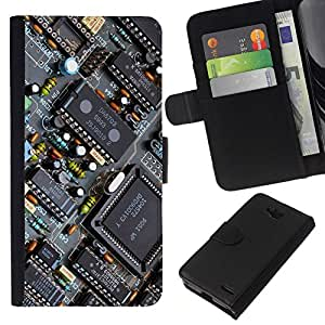 NEECELL GIFT forCITY // Billetera de cuero Caso Cubierta de protección Carcasa / Leather Wallet Case for LG OPTIMUS L90 // PCB Transistores Chipset