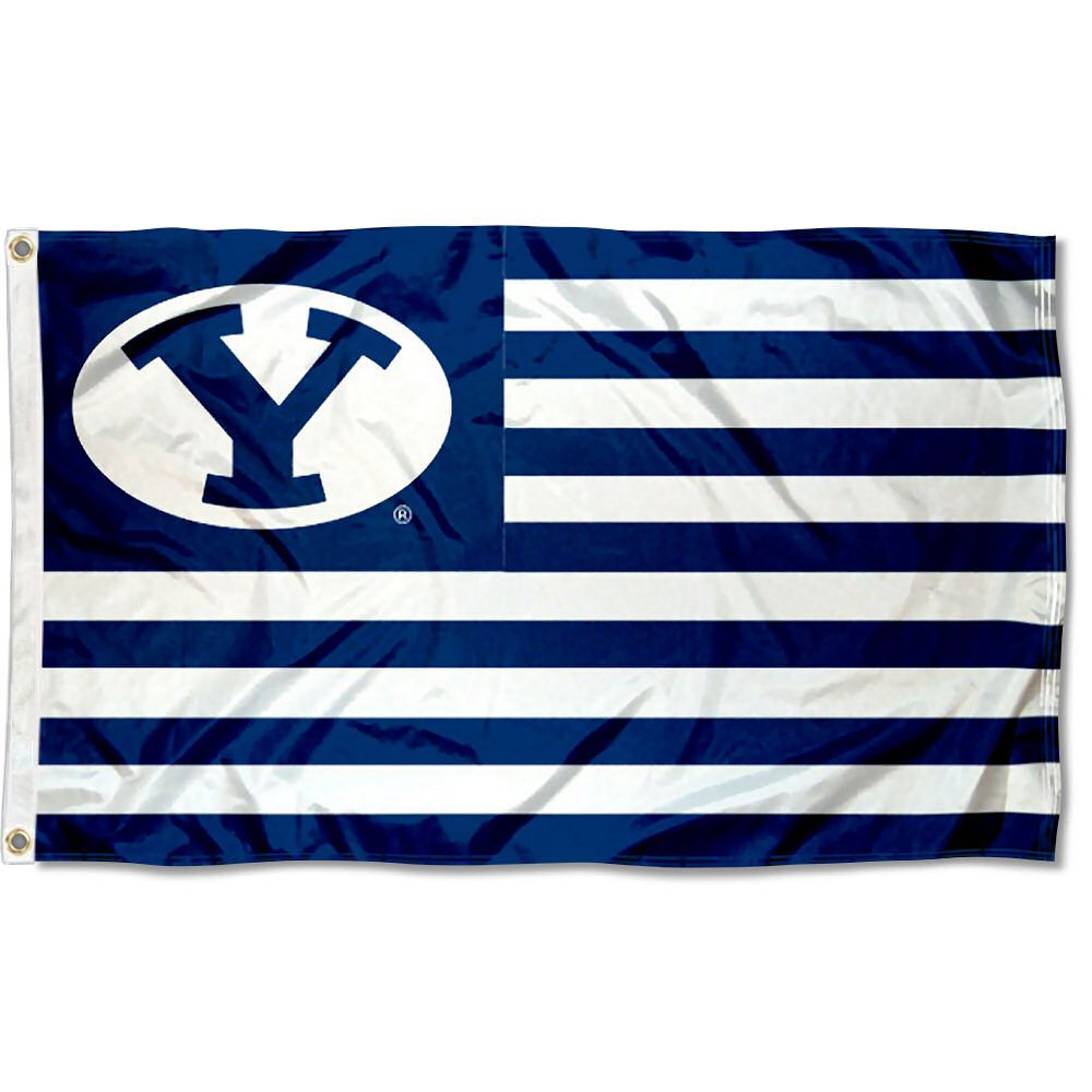 Brigham Young Cougars Stars and Stripes Nation Flag