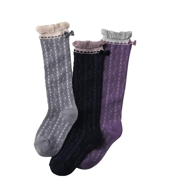 Calcetines hasta la rodilla para niña Calcetines con suela de algodón 3 pares de calcetines: Amazon.es: Ropa y accesorios
