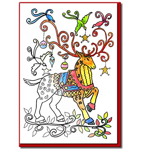 Christmas Cards for Coloring by Adults and Children | 8 Cards to Color | Envelopes Included (Presents In Christmas Colouring)