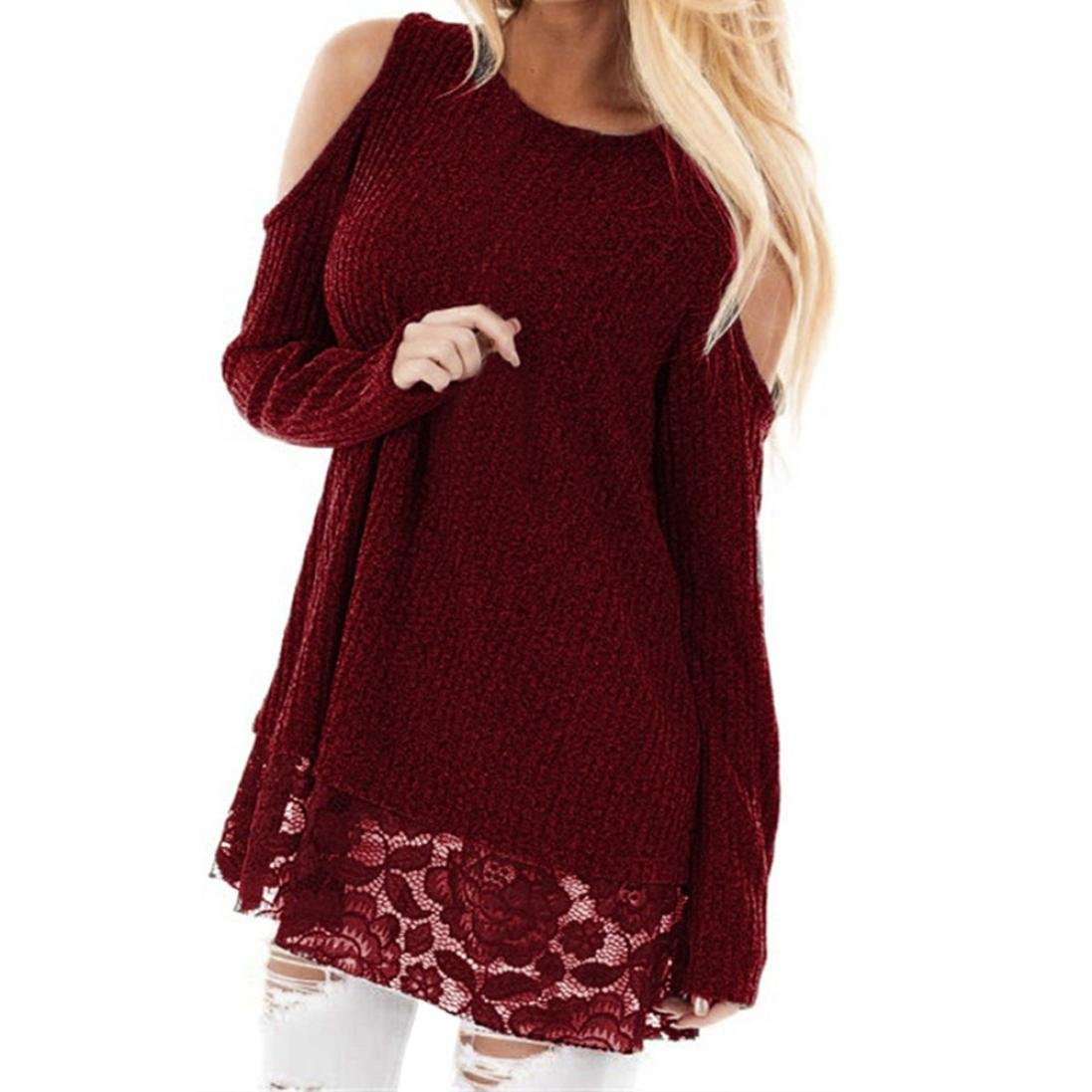 Clearance!Hot sale! Women Plus Size Round Neck Blouse Long Sleeve Cold Shoulder Lace Patchwork Blouse Tops (XL, Wine Red)