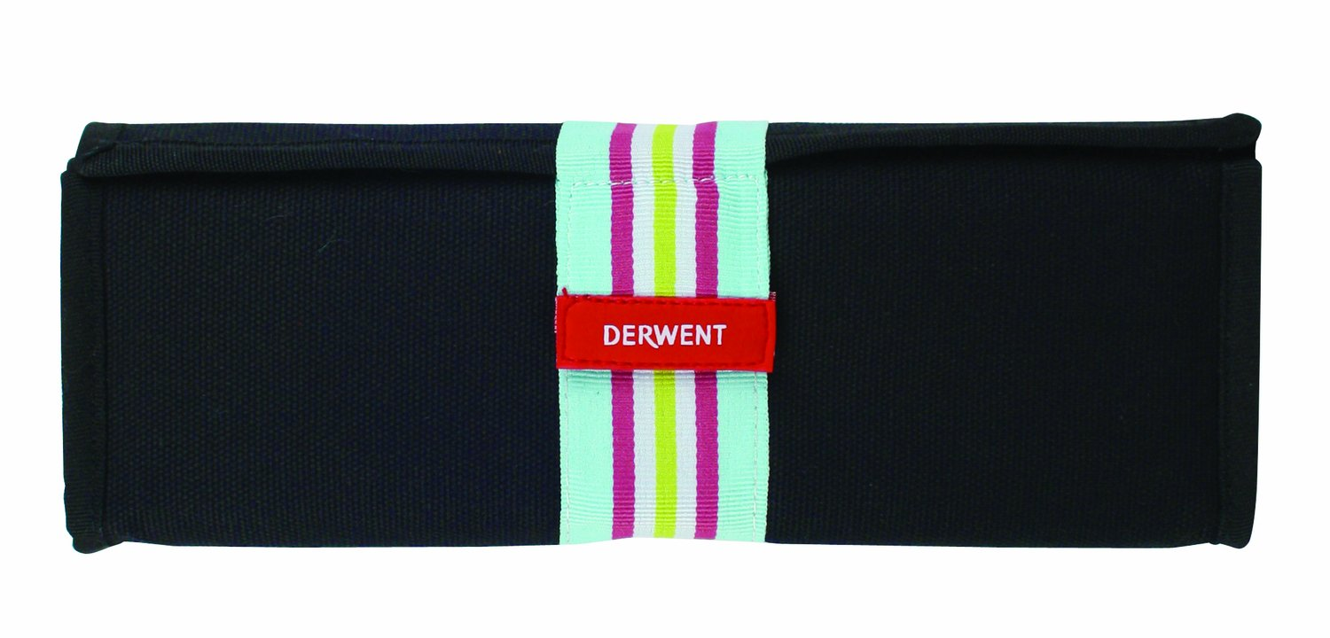 Derwent Pastels Black Canvas Wrap, 36 Pastels Storage Capacity, Secure Wipe-Clean Compartments, Unrolls Flat for Easy Access Acco 2302026