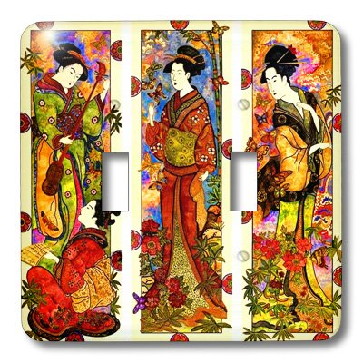 3dRose LLC lsp_101710_2 Collage of 4 Geisha Ladies Double Toggle Switch