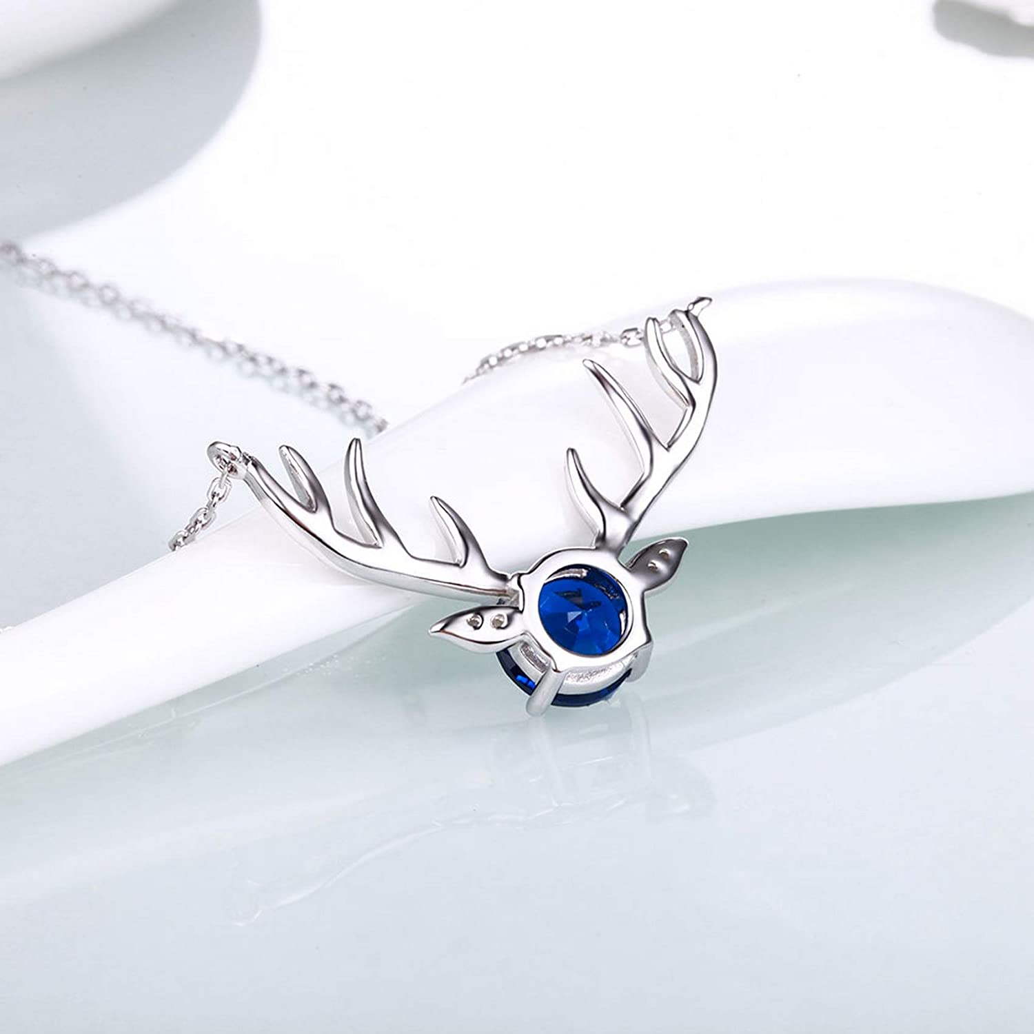 MMC Womens Jewelry Sapphire Antlers Genuine Silver Pendants Necklaces
