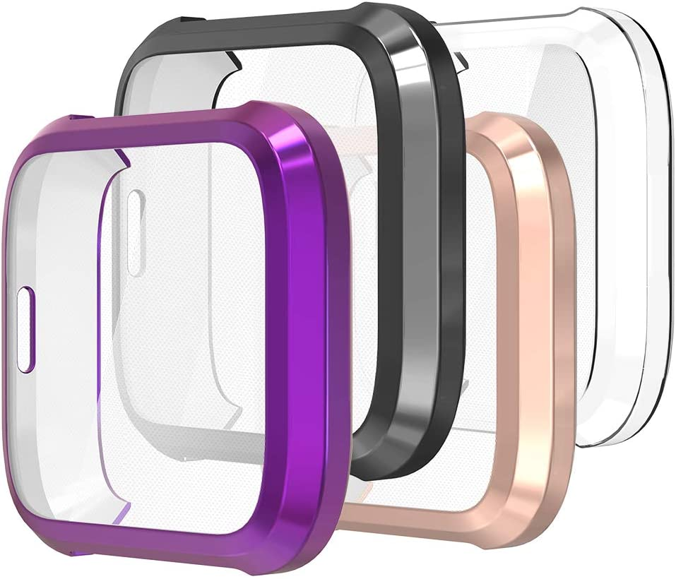 Gaishi Case Screen Protector Compatible with Fitbit Versa Lite Smart Watch, All-Round Case with Screen Protector, Clear/Black/Rose Gold/Purple